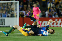 October 11, 2016: RYAN MCGOWAN (19) of Australia is fouled by GENKI HARAGUCHI (8) of Japan during a 3rd round Group B World Cup 2018 qualification match between Australia and Japan at the Docklands Stadium in Melbourne, Australia. Photo Sydney Low Please visit zumapress.com for editorial licensing. *This image is NOT FOR SALE via this web site.