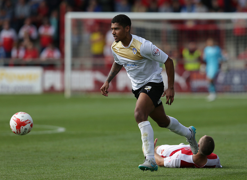 Colchester United's Alex Wynter<br /> <br /> Photographer Stephen White/CameraSport<br /> <br /> Football - The Football League Sky Bet League One - Fleetwood Town v Colchester United - Saturday 22nd August 2015 - Highbury Stadium - Fleetwood<br /> <br /> &copy; CameraSport - 43 Linden Ave. Countesthorpe. Leicester. England. LE8 5PG - Tel: +44 (0) 116 277 4147 - admin@camerasport.com - www.camerasport.com