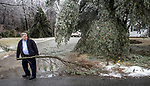 GOSHEN, CT - 30 DECEMBER 2019 - 123019JW03.jpg --  Wolfe McClurg moves downed branches from in front of his home during the ice storm that moved through the area Monday morning. Jonathan Wilcox Republican-American
