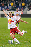 Joel Lindpere (20) of the New York Red Bulls. The San Jose Earthquakes defeated the New York Red Bulls 3-1, (3-2) on aggregate during the 2nd leg of the Major League Soccer (MLS) Eastern Conference Semifinals at Red Bull Arena in Harrison, NJ, on November 04, 2010.