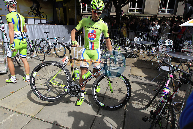 Peter Sagan (SVK) aboard his custom painted Cannondale arrives to sign on before the start Stage 1 of the 2014 Tour de France running 190.5km from Leeds to Harrogate. 5th July 2014.<br /> Picture: Eoin Clarke www.newsfile.ie
