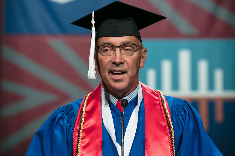 Jerry T. Lange, student speaker, delivers the student address Saturday, June 10, 2017, during the DePaul University School for New Learning commencement ceremony at the Rosemont Theatre in Rosemont, IL. (DePaul University/Jeff Carrion)