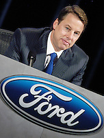 WILMINGTON, DE - MAY 12: Bill Ford, Chairman of the Board and Chief Executive Officer of Ford Motor Company speaks to shareholders during the Ford Motor Company 2005 Shareholders Meeting at the Hotel DuPont May 12, 2005 in Wilmington, Delaware. Standard and Poor recently downgraded Ford and General Motors debt to ?junk? status.  (Photo by William Thomas Cain/Getty Images)