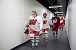 Wisconsin Badgers women's hockey players walk back to their new locker room after practice on move-in day at the LaBahn Arena Monday, October 1, 2012 in Madison, Wisc. (Photo by David Stluka)