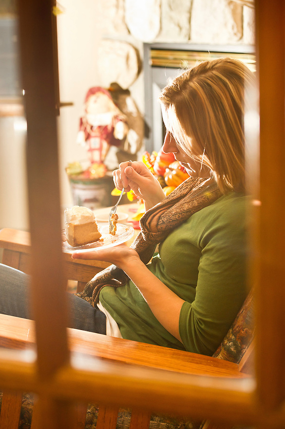A guest enjoys dessert and coffee at Paul's Restaurant in the Americinn in Silvery City Michigan.