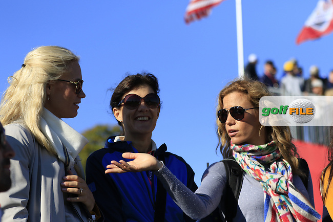 Sofia Lundstedt with the Cabrera-Bello family at the 7th green during Saturday Morning Foursomes Matches of the 41st Ryder Cup, held at Hazeltine National Golf Club, Chaska, Minnesota, USA. 1st October 2016.<br /> Picture: Eoin Clarke   Golffile<br /> <br /> <br /> All photos usage must carry mandatory copyright credit (&copy; Golffile   Eoin Clarke)