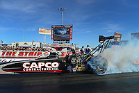 Oct. 26, 2012; Las Vegas, NV, USA: NHRA top fuel dragster driver Steve Torrence during qualifying for the Big O Tires Nationals at The Strip in Las Vegas. Mandatory Credit: Mark J. Rebilas-
