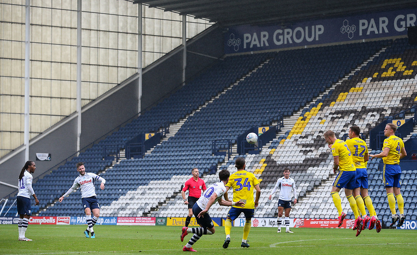 Preston North End's Paul Gallagher goes close with a free kick<br /> <br /> Photographer Alex Dodd/CameraSport<br /> <br /> The EFL Sky Bet Championship - Leeds United v Barnsley - Thursday 16th July 2020 - Elland Road - Leeds<br /> <br /> World Copyright © 2020 CameraSport. All rights reserved. 43 Linden Ave. Countesthorpe. Leicester. England. LE8 5PG - Tel: +44 (0) 116 277 4147 - admin@camerasport.com - www.camerasport.com<br /> <br /> Photographer Alex Dodd/CameraSport<br /> <br /> The EFL Sky Bet Championship - Preston North End v Birmingham City - Saturday 18th July 2020 - Deepdale Stadium - Preston<br /> <br /> World Copyright © 2020 CameraSport. All rights reserved. 43 Linden Ave. Countesthorpe. Leicester. England. LE8 5PG - Tel: +44 (0) 116 277 4147 - admin@camerasport.com - www.camerasport.com