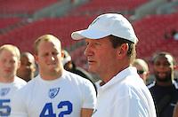 Jun. 13, 2009; Las Vegas, NV, USA; Las Vegas head coach Jim Fassel speaks with players during the United Football League workout at Sam Boyd Stadium. Mandatory Credit: Mark J. Rebilas-