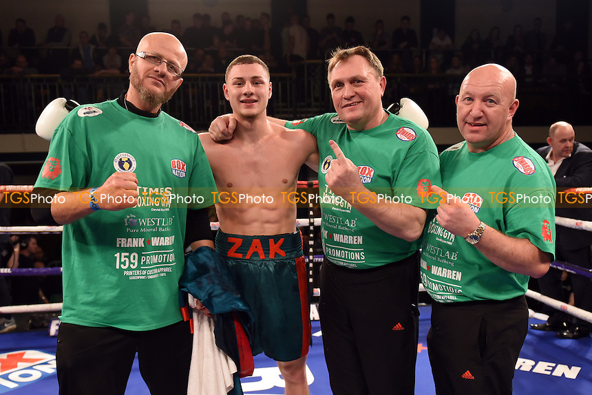 Zak Chelli (green shorts) defeats Jacob Lucas during a Boxing Show at York Hall on 24th February 2017
