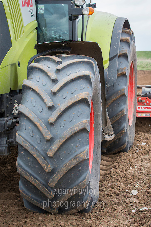 Large tractor tyres on a Claas tractor