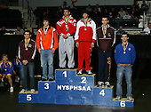 Alex Ekstrom (1st - Pal-Mac); Brian Sewalt (2nd - Waverly); Mark Crisafulli (3rd - Phoenix); Craig Scott (4th - Lyons); John Gochenour (5th - Galway); Duane Roberts (6th - Gouverneur) pose on the podium for the Division Two 135 weight class during the NY State Wrestling Championship finals at Blue Cross Arena on March 9, 2009 in Rochester, New York.  (Copyright Mike Janes Photography)