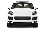 Car photography straight front view of a 2017 Porsche Cayenne Diesel 5 Door SUV Front View