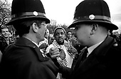 Police intervene in a potentially violent argument at Speakers Corner, Hyde Park, London