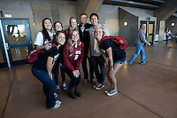 Stanford, CA -- January 28, 2012: Buddy Day participants during Buddy Day held  Saturday afternoon as part of Stanford vs. Cal Women's Basketball game at Maples Pavilion at Stanford.<br /> <br /> Stanford defeat Cal 74-71 in overtime.