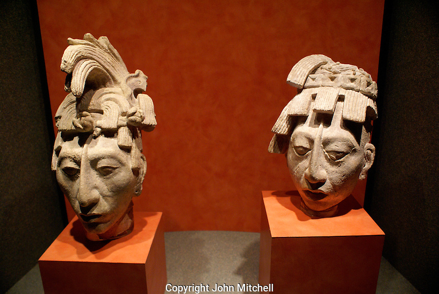 Mayan stone heads of Lord Pacal from Pacal's tomb in the Temple of the Inscriptions at Palenque, National Museum of Anthropolgy Mexico City.