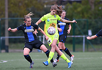 20191123 – BRUGGE, BELGIUM : Brugge's Elle Decorte pictured in a duel with Gent's Marie Minnaert during a women soccer game between Dames Club Brugge and K AA Gent Ladies on the ninth matchday of the Belgian Superleague season 2019-2020 , the Belgian women's football  top division , saturday 23 th November 2019 at the Jan Breydelstadium – terrain 4  in Brugge  , Belgium  .  PHOTO SPORTPIX.BE | DAVID CATRY