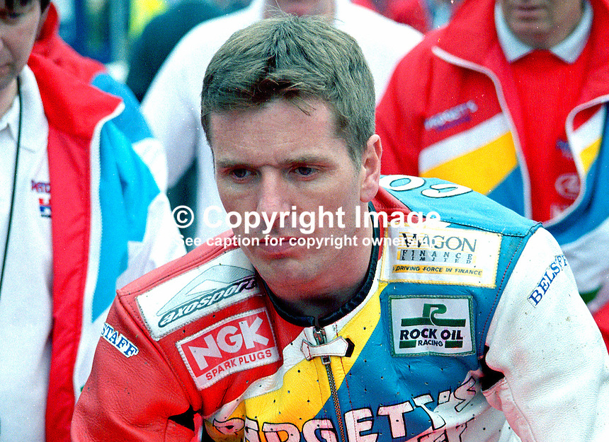 Woolsley Coulter, Portadown, N Ireland, UK, racing motorcyclist,199805041...Copyright Image from Victor Patterson, 54 Dorchester Park, Belfast, UK, BT9 6RJ..Tel: +44 28 9066 1296.Mob: +44 7802 353836.Voicemail +44 20 8816 7153.Skype: victorpattersonbelfast.Email: victorpatterson@mac.com.Email: victorpatterson@ireland.com (back-up)..IMPORTANT: If you wish to use this image or any other of my images please go to www.victorpatterson.com and click on the Terms & Conditions. Then contact me by email or phone with the reference number(s) of the image(s) concerned.