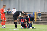 Tyler Denton of Stevenage receives some treatment during St Albans City vs Stevenage, Friendly Match Football at Clarence Park on 13th July 2019