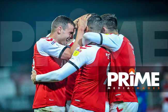 Fleetwood Town celebrate going 3-0 up during the Sky Bet League 1 match between Fleetwood Town and Coventry City at Highbury Stadium, Fleetwood, England on 27 November 2018. Photo by Stephen Buckley / PRiME Media Images.