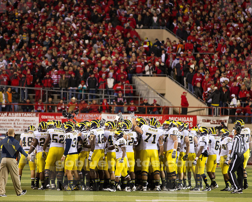 The University of Michigan Football team fell to the Nebraska Cornhuskers, 23-9, at Memorial Stadium in Lincoln, Neb., on October 27, 2012.