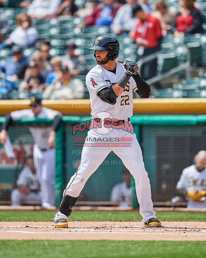 Kaleb Cowart (22) of the Salt Lake Bees at bat against the El Paso Chihuahuas in Pacific Coast League action at Smith's Ballpark on April 30, 2017 in Salt Lake City, Utah. El Paso defeated Salt Lake 3-0. This was Game 1 of a double-header. (Stephen Smith/Four Seam Images)