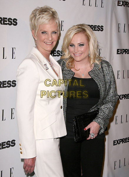 "CINDY & MEGAN McCAIN.attends the ELLE and Express ""25 at 25"" Event held at The Palihouse Holloway in West Hollywood, California, USA,  October 7th 2010..half length mother mum mom daughter black dress grey gray wool tweed jacket   white pearl necklace .CAP/RKE/DVS.©DVS/RockinExposures/Capital Pictures."