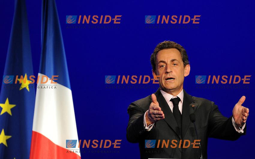 Nicolas Sarkozy.Meeting a Elancourt.28/03/2012 Francia.Foto Insidefoto / Christian Liewing / Panoramic ..Italy Only