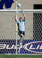 New England Revolution goalkeeper Matt Reis (1) leaps high for a ball. The Chivas USA and New England Revolution played to 1-1 draw during a early round match of the 2008 SuperLiga at Cal State Fullerton Titan stadium in Fullerton, California on Sunday July 20, 2008.