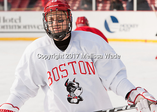 Nikolas Olsson (BU - 13) - The Boston University Terriers practiced on the rink at Fenway Park on Friday, January 6, 2017.The Boston University Terriers practiced on the rink at Fenway Park on Friday, January 6, 2017.