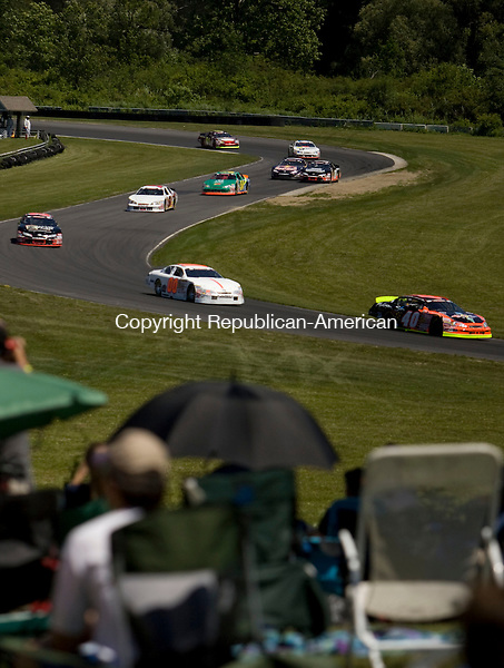 LAKEVILLE, CT-03 JULY, 2010-030710S09--Drivers make their way through the esses during the NASCAR K&amp;S Pro Series East race Saturday at Lime Rock Park in Lakeville. <br /> Jim Shannon Republican-American