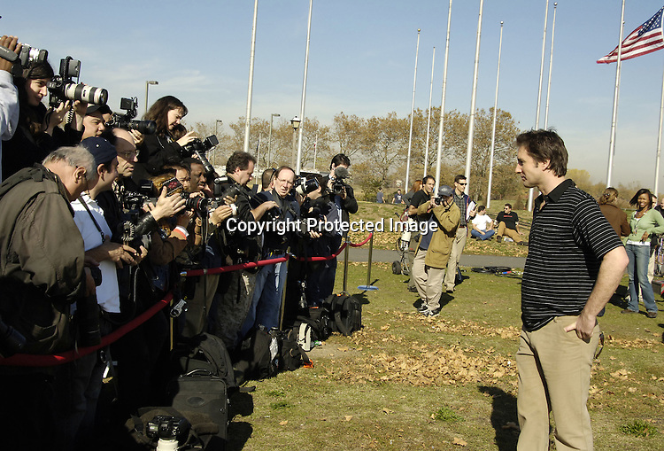 "Luke Wilson and the photographers ..at a photo op for the new movie ""Super Ex-Girlfriend"" starring Uma Thurman and Luke Wilson and directed by Ivan Reitman  on November 4, 2005 at Liberty State Park. ..Photo by Robin Platzer, Twin Images"