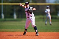 FDU-Florham Devils second baseman Joseph Bonaccorso (7) throws to first base during the first game of a doubleheader against the Farmingdale State Rams on March 15, 2017 at Lake Myrtle Park in Auburndale, Florida.  Farmingdale defeated FDU-Florham 6-3.  (Mike Janes/Four Seam Images)