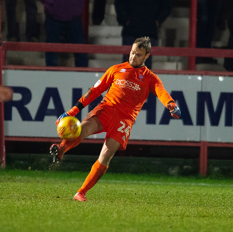 Lincoln City's Sam Slocombe<br /> <br /> Photographer Andrew Vaughan/CameraSport<br /> <br /> The EFL Checkatrade Trophy Second Round - Accrington Stanley v Lincoln City - Crown Ground - Accrington<br />  <br /> World Copyright © 2018 CameraSport. All rights reserved. 43 Linden Ave. Countesthorpe. Leicester. England. LE8 5PG - Tel: +44 (0) 116 277 4147 - admin@camerasport.com - www.camerasport.com