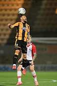 3rd October 2017, The Abbey Stadium, Cambridge, England; Football League Trophy Group stage, Cambridge United versus Southampton U21; Gary Deegan of Cambridge United jumps for a header