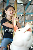 Griselda Rivera on Pullen Park's Carousel.