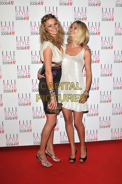JODIE KIDD & JEMMA KIDD.ELLE Style Awards 2008, The Westway, London, England,.12th February 2008..full length white sequined dress sisters family.CAP/PL.©Phil Loftus/Capital Pictures