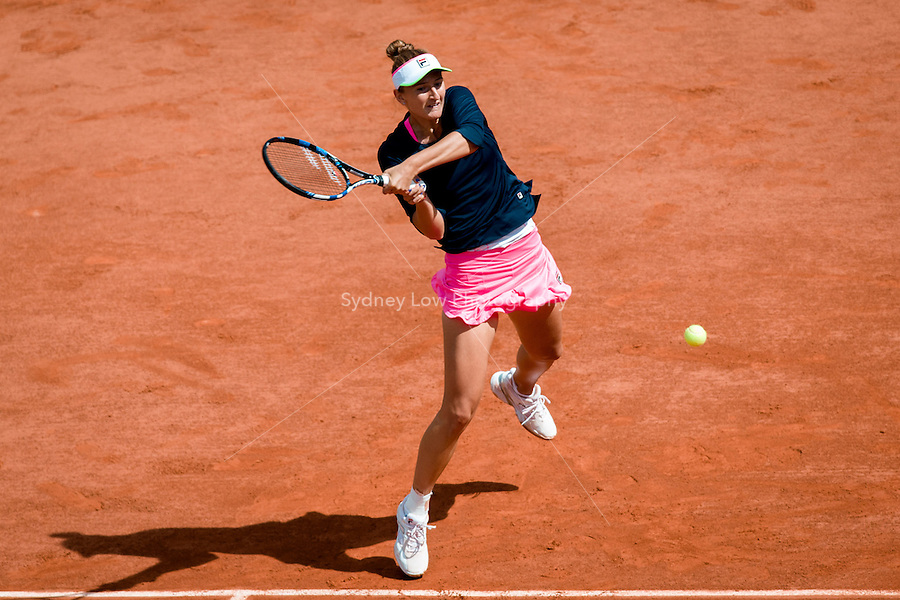 May 30, 2015: Irina-Camelia BEGU of Romania in action in a 3rd round match against Petra KVITOVA of Czech Republic on day seven of the 2015 French Open tennis tournament at Roland Garros in Paris, France. KVITOVA won 63 62. Sydney Low/AsteriskImages