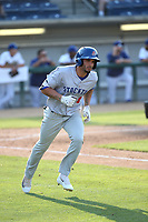 Luis Barrera (9) of the Stockton Ports runs to first base during a game against the Rancho Cucamonga Quakes at Loan Mart Field on July 16, 2017 in Rancho Cucamonga, California. Rancho Cucamonga defeated Stockton 9-1. (Larry Goren/Four Seam Images)
