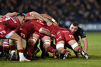 Sam Underhill of Bath Rugby looks on at a scrum. European Rugby Champions Cup match, between Bath Rugby and the Scarlets on January 12, 2018 at the Recreation Ground in Bath, England. Photo by: Patrick Khachfe / Onside Images