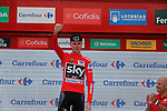 Race leader Christopher Froome (GBR) Team Sky retains the Red Jersey on the podium at the end of Stage 10 of the 2017 La Vuelta, running 164.8km from Caravaca A&ntilde;o Jubilar 2017 to ElPozo Alimentaci&oacute;n, Spain. 29th August 2017.<br /> Picture: Unipublic/&copy;photogomezsport | Cyclefile<br /> <br /> <br /> All photos usage must carry mandatory copyright credit (&copy; Cyclefile | Unipublic/&copy;photogomezsport)