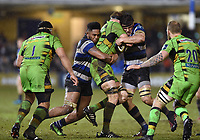 Levi Douglas and Josh Bayliss of Bath Rugby put in a double-tackle. Anglo-Welsh Cup Semi Final, between Bath Rugby and Northampton Saints on March 9, 2018 at the Recreation Ground in Bath, England. Photo by: Patrick Khachfe / Onside Images