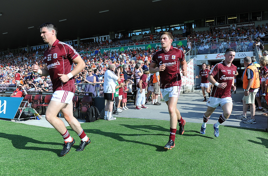 20th July 2013; Sean Denvir, Conor Doherty and Danny Cummins, Galway, run onto the pitch. All Ireland Football Senior Championship Round 3, Galway v Armagh, Pearse Stadium, Galway