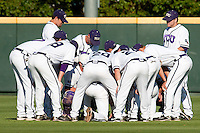 TCU pregame prayer April 27th, 2010; NCAA Baseball action, Baylor University Bears vs TCU Horned Frogs at Lupton Stadium in Fort Worth, Tx;  TCU won 5-4 in extra innings.