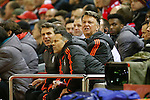 Louis Van Gaal, manager of Manchester United watches on during the UEFA Europa League match at Anfield. Photo credit should read: Philip Oldham/Sportimage