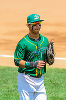 Beloit Snappers outfielder J.C. Rodriguez (6) during a Midwest League game against the Quad Cities River Bandits on June 18, 2017 at Pohlman Field in Beloit, Wisconsin.  Quad Cities defeated Beloit 5-3. (Brad Krause/Four Seam Images)