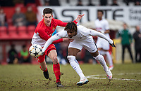 Kazaiah Sterling of Spurs U19 & Julien Serrano of AS Monaco FC Youth during the UEFA Youth League round of 16 match between Tottenham Hotspur U19 and Monaco at Lamex Stadium, Stevenage, England on 21 February 2018. Photo by Andy Rowland.