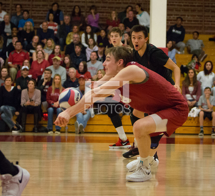 STANFORD, CA - March 10, 2018: Leo Henken, Evan Enriques at Burnham Pavilion. The Stanford Cardinal lost to UC Irvine, 3-0.