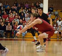 STANFORD, CA - March 10, 2018: Leo Henken, Evan Enriques at Burnham Pavilion. The Stanford Cardinal lost to UC Irvine, 3-0.