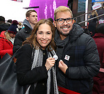 Andrea Burns and Carlos Arrair Along with Actors' Equity members talk to Broadway audiences about why they are fighting for a better development contract with the Broadway League after the Union announced Monday a strike for all development work with the Broadway League. TKTS Booth, Duffy Square Neil January 8, 2019 in New York City.